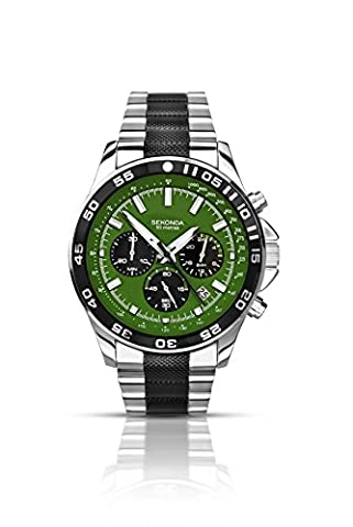 Sekonda Men's Quartz Watch with Green Dial Chronograph Display and Two Tone Stainless Steel Bracelet 1240.27