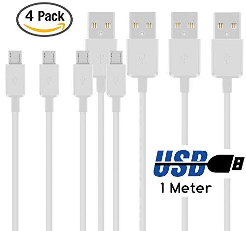 TheSmartGuard - Micro USB Kabel [4er Set] / Datenkabel / Ladekabel [2.1 A] für alle SONY Smartphones mit Micro USB Anschluss | Farbe: weiß | Länge: 1 Meter / 1m