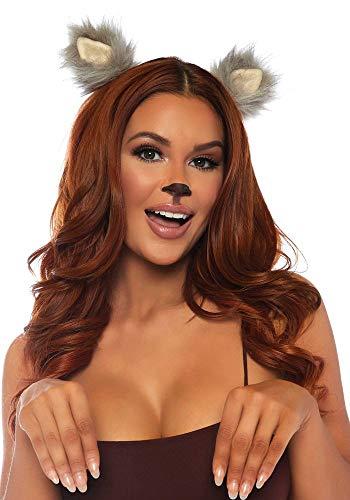 Kostüm Bären Ohren - shoperama Fellohren für Tier-Kostüme Katze Bär Wolf Fuchs Tierohren Ohren Katzenohren Kostüm-Zubehör, Farbe:Grau