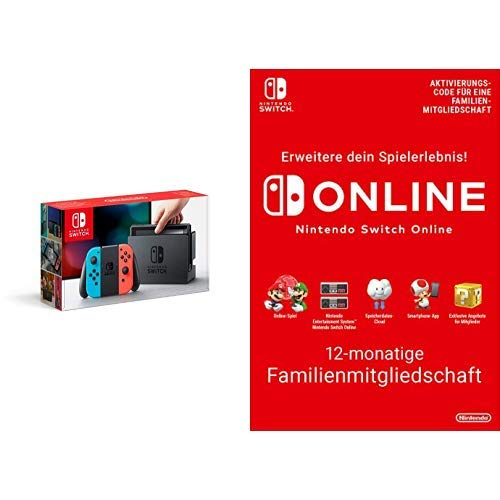 Nintendo Switch Konsole Neon-Rot/Neon-Blau + Switch Online - 12 Monate Familienmitgliedschaft [Download Code]