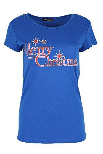 Oops Outlet Damen T-shirt Santa Elfe Kostüm Rentier Rudolph Schneeflocken Weihnachten Kurzärmlig Mini T-shirt Top - Fröhliche Weihnachten Königsblau, (Kostüme Elfen Fröhliche)
