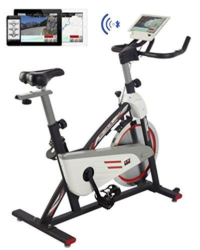 BODY SCULPTURE Racing Bike Pro 28146 Indoor-Cycle mit 18 kg Schwungrad | Bluetooth + IBiking - App für Indoorbikes | Training-Computer und Handpulssensoren | belastbar bis 125kg (Heimtrainer Google Maps)