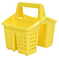 Yellow 4 Compartment Plastic Sink Tidy Filter Cutlery Drainer Caddy with Handle