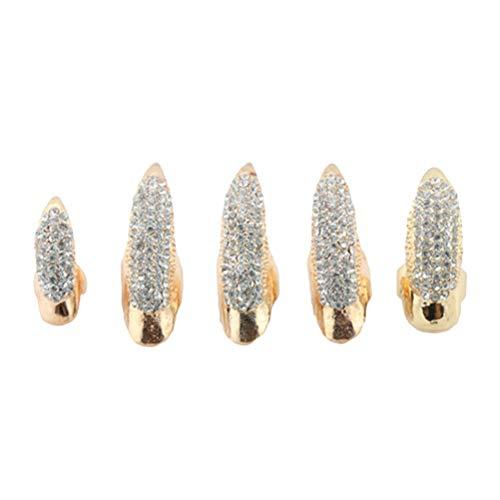 TENDYCOCO 5 stücke Clear Crystal Eagle Claw Fingerring Mode Gefälschte Nägel Ring Set für Cosplay (Golden) (Fünf Goldene Ringe Kostüm)