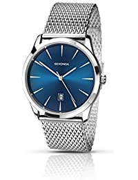 Sekonda Men's Quartz Watch with Blue Dial Analogue Display and Silver Stainless Steel Bracelet 1065.27