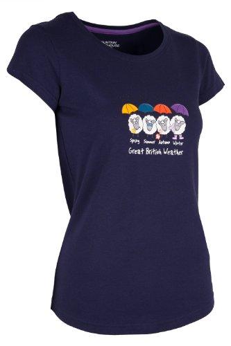 Mountain Warehouse Great British Weather bedrucktes Damen-T-Shirt 100% Baumwolle Sportlich Camping Wandern Freizeit Alltag Marineblau