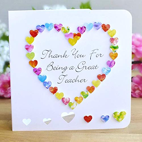 Thank You for Being a Great Teacher Card - Colourful Rainbow Handmade Thankyou