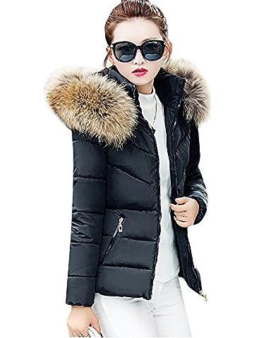 Femme Section courte Slim à capuche épais Grande taille Manteau en coton Veste matelassée Noir L