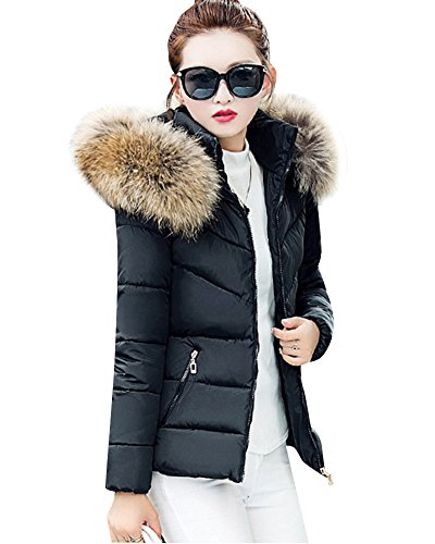 Donna-Colletto-in-pelliccia-Down-Colletto-giacca-corta-cappotto-Caldo-Cappotto-Giacca-Trapuntata-Nero-M
