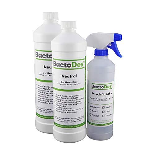 BactoDes Neutral | Geruchsneutrales, vielfältiges Geruchsentferner-Konzentrat | 2x1Liter inkl. Geruchsneutralisierer Spray-Flasche -