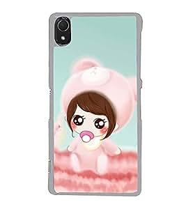 FUSON Designer Back Case Cover for Sony Xperia Z3 :: Sony Xperia Z3 Dual D6603 :: Sony Xperia Z3 D6633 (Chubby girl design Beautiful girl design Cute design Cheerful girl design Smiley girl design)
