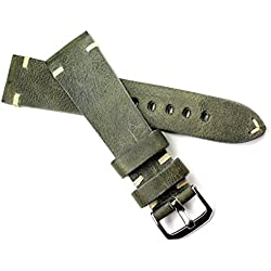 Rios Leather Band White Stitching 22mm Band Retro Quality Strap Green BS Top Quality