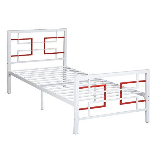 Aingoo - Estructura de Cama Individual de Metal con Tubos Cuadrados sólidos y Plataforma de Metal con cabecero y piecero, Blanco
