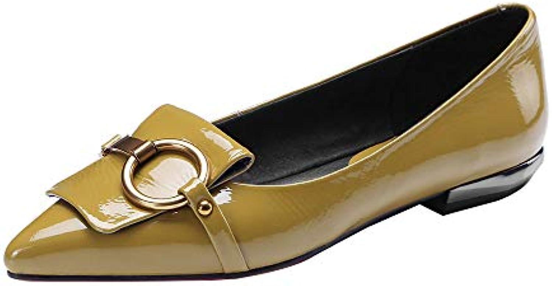 Ballerine Scarpe Basse con Fondo Morbido in Vernice Scarpe da Donna in Pelle con Fibbia in Metallo a Punta | Portare-resistendo  | Scolaro/Signora Scarpa