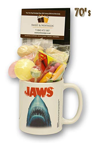 Jaws Movie Mug with a Scary Selection of 1970's Retro Sweets