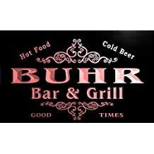 u05979-r BUHR Family Name Bar & Grill Cold Beer Neon Light Sign Enseigne Lumineuse