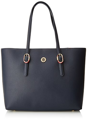 Tommy Hilfiger Damen Th Buckle Tote Schultertasche, Blau (Tommy Navy), 14x27x40 cm (Buckle Tote)