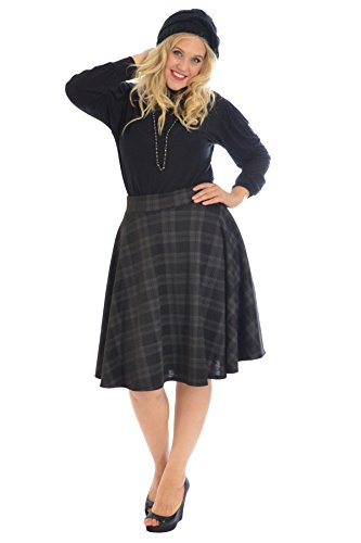 Nouvelle Collection Tartan Skater Skirt Charcoal 18