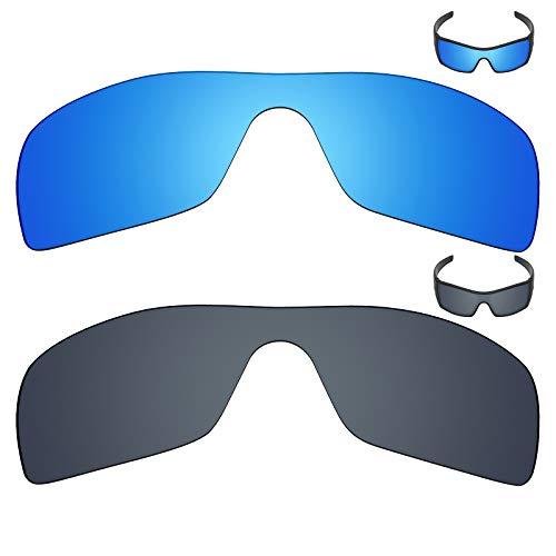 MRY 2Paar Polarisierte Ersatz Gläser für Oakley Batwolf Sonnenbrille-Reiche Option Farben, Ice Blue & Black Iridium