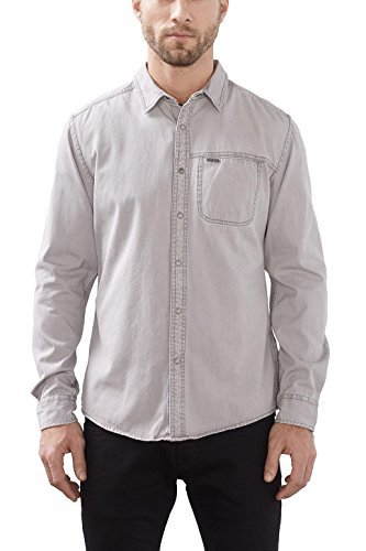 edc by ESPRIT Herren Freizeithemd 017cc2f001 Grau (Grey Medium Wash 922)