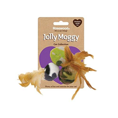 Rosewood Jolly Moggy Drei Feder Fleece Bälle Katze Spielzeug