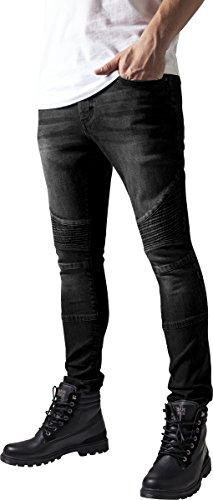 Urban Classics TB1436 Herren und Jungen Jeanshose Slim Fit Biker Jeans, Five-Pocket Stretch Biker Hose im Used Look, black washed, Größe 32