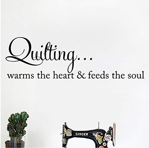 Pbbzl Quilten Wärmt Das Herz Zitat Wandkunst Aufkleber Nähen Quilten Schriftzug Worte Vinyl Aufkleber Kunsthandwerk Raum Wand Kunst Dekor 56X18 Cm -