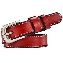 JUNJUN Cinturones Cuero Rojo Hebilla De Cuero De Las Señoras Simple Con  Jeans Falda Más Estudiantes cf5f69d7979a
