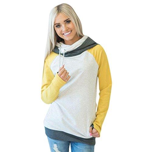 Felpa con cappuccio , feiXIANG Donne Loose casual manica lunga Felpa con cappuccio maglione pullover Top,miscela del cotone,S~XL Giallo