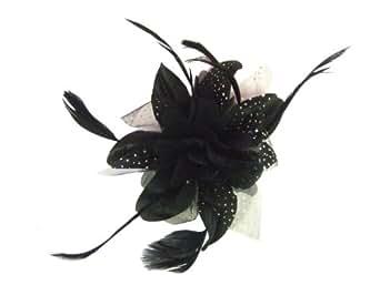 Elegant Burlesque Gothic Black White Polka Net Organza Flower Feather Wedding Hair Comb Fascinator
