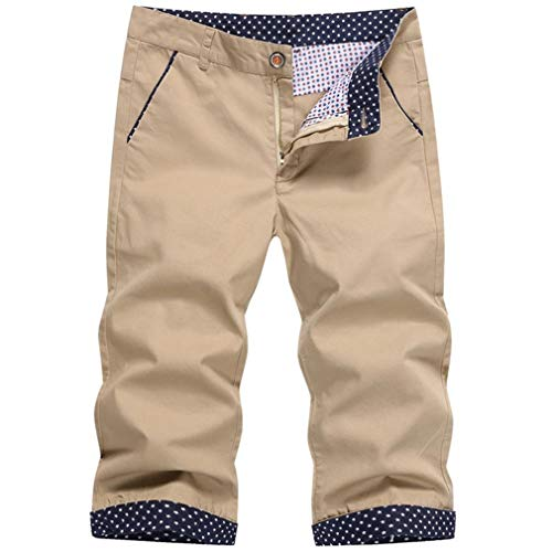 Generic Herren Cargo Shorts Cropped Pants Sommer Baumwolle Thin Slim Straight Pockets Zip Bequeme Streetwear Work Formelle Hose -