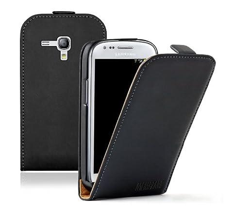 Membrane - Ultra Slim Noir Étui Coque Samsung Galaxy S3 Mini (GT-i8190) - Flip Case Cover + 2 Films de protection d