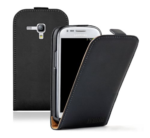Membrane - Ultra Slim Noir Étui Coque Samsung Galaxy S3 Mini (GT-i8190) - Flip Case Cover + 2 Films de protection d'écran