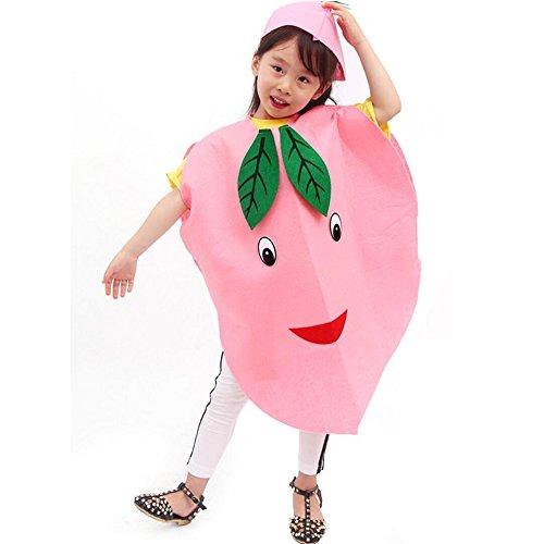 Amaoma Faschingskostüme für Kinder Früchte, Non Woven Umwelt Performance Kleidung für Fasching, Erdbeerkostüm für Kinder Obst und Gemüse Handgefertigt Kleidung, Fit für die Höhe: 90-145cm ()