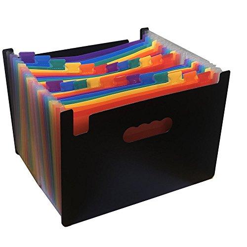 HIHUHEN Expandieren Ordner/24 Taschen A4 Erweiterbar Akten Organizer/Kunststoff Business Portable Akkordeon Datei Box mit High Capacity Mehrfarbenständer (24Pockets Folder)