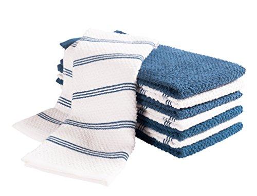 Pb Handtuch (KAF Home Pantry Piemont Küche Handtücher (Set von 8, 40,6x 66cm), 100% Baumwolle, Ultra saugfähiger Frottee Handtücher 16 x 26 Paris Blue)