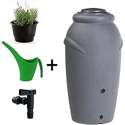 Unbekannt récupérateur d'eau de pluie Amphore 210 l / 360l avec robinet, couvercle, plante en pot 210L gris