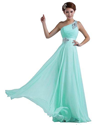 Edaier Damen Eine Schulter Chiffon Prom Kleid Abendkleid Perlen Größe 48 Mintgrün (Perlen Voll Abendkleid Gefüttert)