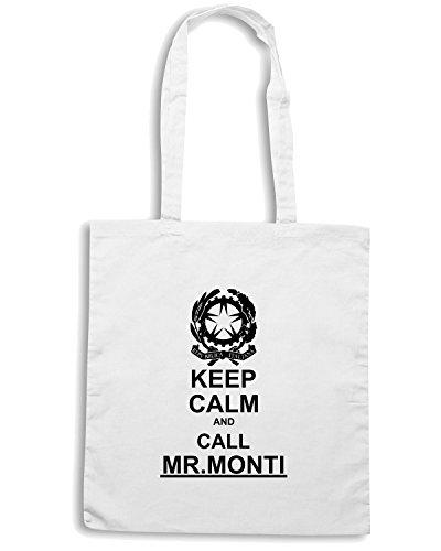 T-Shirtshock - Borsa Shopping T0207 keep calm and call mr MONTI politica Bianco