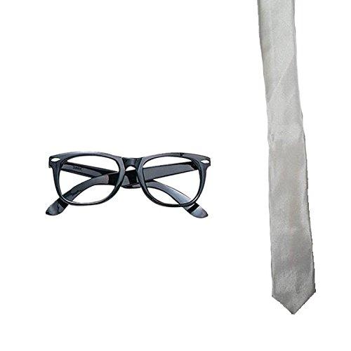School Kostüm Nerd Girl - Blue Planet Online Nerd Geek Brille & Halstuch School Boy Girl
