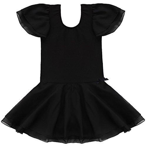 Tiaobug Kinder Mädchen Kurzarm Ballettkleid Ballettanzug Turnanzug mit -