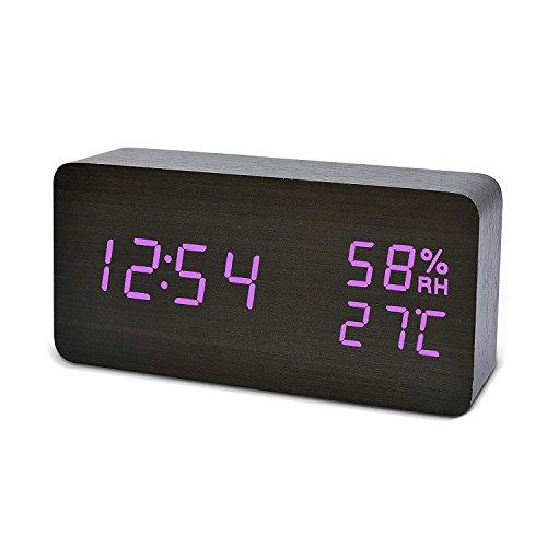 FiBiSonic Reloj Despertador Madera LED con Alarma Snooze y Indicador de Fecha Temperatura Reloj de Mesa Escritorio (Negro Violeta)