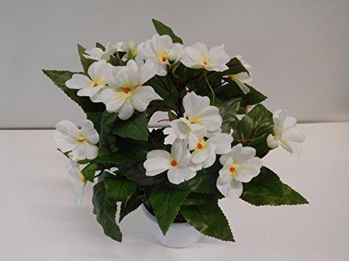Impatiens Fleißiges Lieschen Seidenblume Kunstpflanze weiß 32 cm 20428-0 F87