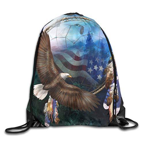 Drawstring Bag Bundle Backpack Cinch Sacks Bulk Sackpack American Bald Eagle Flag Home School Hiking Travel Bag -