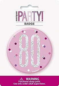 Unique Party 83537 - Insignia de cumpleaños, color rosa y plateado