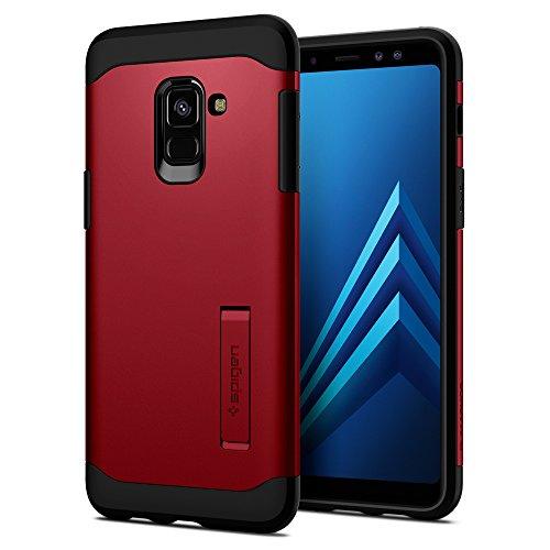 Spigen® [Slim Armor] funda Galaxy A8 2018 con Kick Stand y Protección híbrida contra caídas para Galaxy A8 (2018) [Merlot Red]