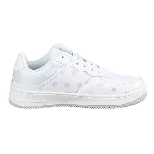 Ital-Design  SCHNÜRER SNEAKERS HALBSCHUH, Low-top femme Blanc - Weiß Silber