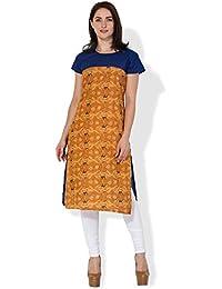 BLUEPOCKET Kurti / Kurta For Women(Cotton, Cap Sleeves, Mustard And Blue)
