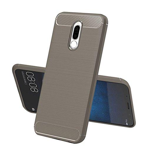 TopACE Huawei Mate 10 Lite Hülle, Flexiblem TPU Silikon Hybrid Schutzhülle Kohlenstoff-Fasern Tasche Slim-Fit Case für Huawei Mate 10 Lite (Grau)
