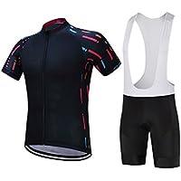 XDXDWEWERT Pantalones de Ciclismo Pantalones de Montar en BIC Deportes de los Hombres al Aire Libre Bicicleta de montaña Manga Corta Ciclismo Jersey Blanco Bib S (Color : White Bib, tamaño : S)